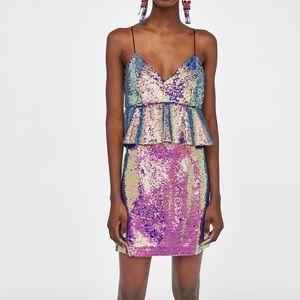 ZARA Sequins Peplum Dress